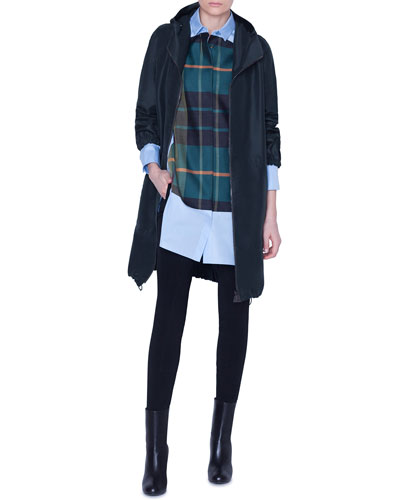 Silk Parka Knee-Length Coat and Matching Items