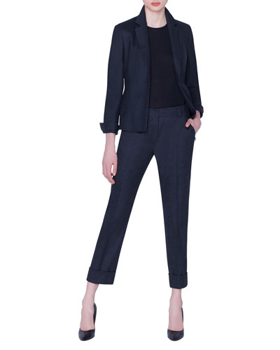 Stretch Wool Hook-Front Jacket and Matching Items