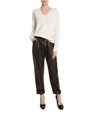 dcd4d66667 TOM FORD Cashmere Large-Ribbed V-Neck Sweater Leather Front-Pleated Crop  Pants