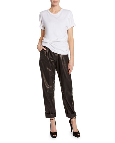Leather Front-Pleated Crop Pants and Matching Items