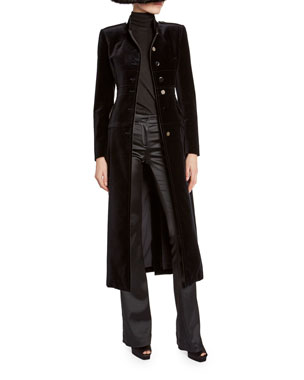 16bc136573aa TOM FORD Velvet Stand-Collar Military Coat Cashmere/Silk Knit Long-Sleeve  Turtleneck