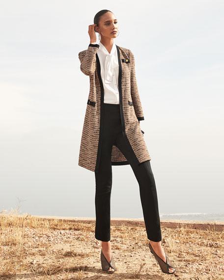 Misook Plus Size Long Boucle Jacket with Pocket Detail