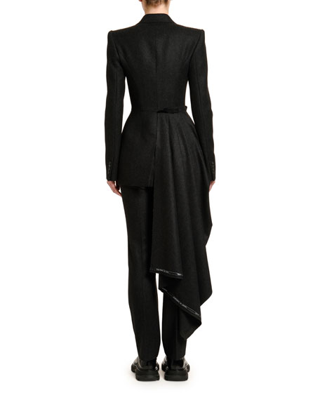 Alexander McQueen Draped-Front Flannel Jacket