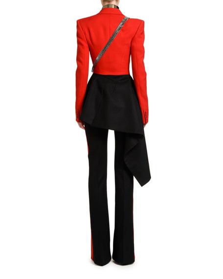 Alexander McQueen Bicolor Compact Wool-Oxbridge Flannel Jacket