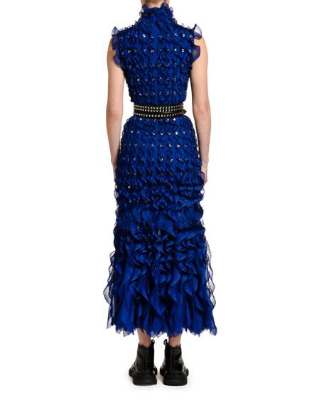 Alexander McQueen Sleeveless Ruffled Bodycon Dress