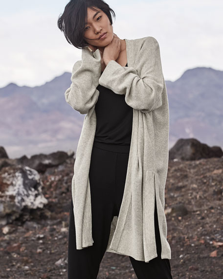 Eileen Fisher Petite Organic Cotton/Silk Long Cardigan