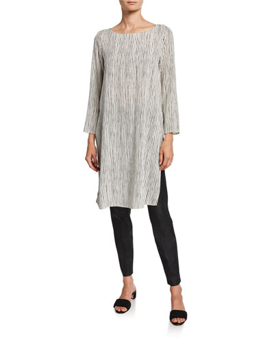 Linerar Stripe Ballet-Neck Silk Crepe Tunic and Matching Items