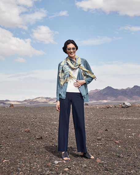 Eileen Fisher Petite Organic Linen Delave Cardigan