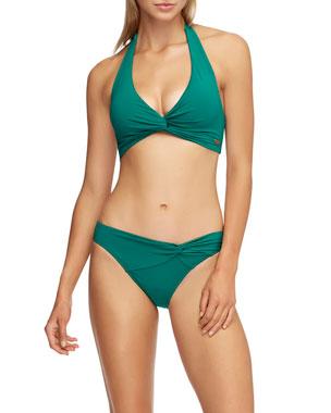 fd11c108fb JETS by Jessika Allen Twisted Halter Bikini Top (D/DD Cups) Jetset Gathered