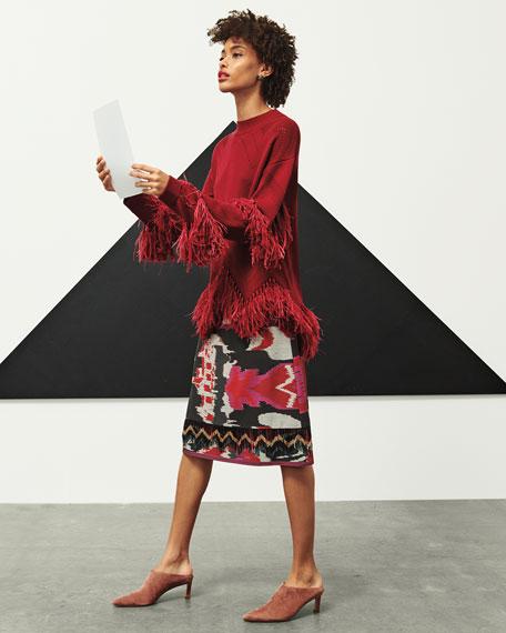 Kobi Halperin Simone Crewneck Sweater with Fringe & Feathers