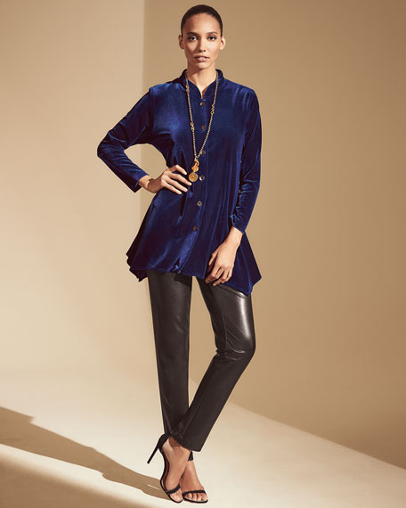 Caroline Rose Petite Button-Down Stretch Velvet Swing Shirt with Mandarin Collar