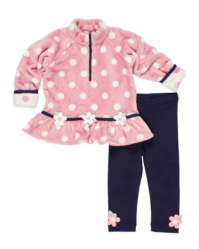 Plush Polka-Dot Fleece Top w/ Matching Leggings  Size 9-24 Months  and Matching Items
