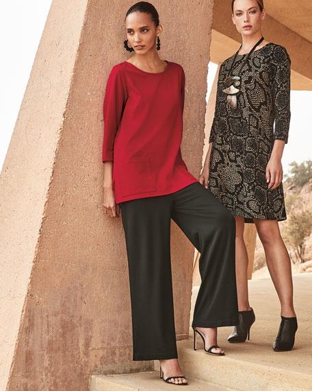 Caroline Rose Plus Size Scoop-Neck 3/4-Sleeve Lux Ponte Pocket Tunic