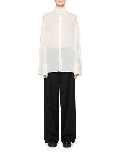 Sarabee Sheer Organza Button-Front Shirt and Matching Items