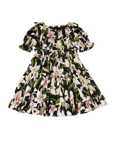 Girl's Lily Print Ruffle Poplin Dress  Size 4-6  and Matching Items