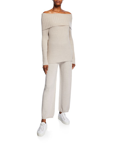 Ribbed Off-the-Shoulder Wool Sweater and Matching Items
