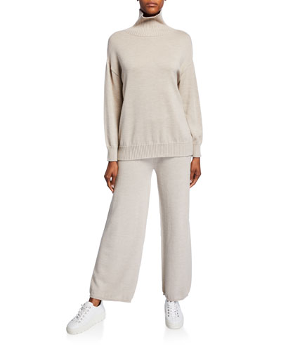 Ribbed Trim Wool Turtleneck Sweater and Matching Items