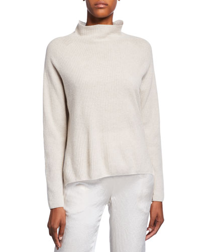 Funnel-Neck Wool-Blend Rib Sweater and Matching Items
