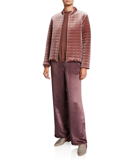 Max Mara Leisure Zip-Front Quilted Velvet Jacket