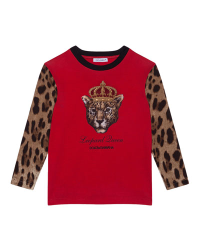 Girl's Leopard Queen Graphic Tee, Size 4-6  and Matching Items