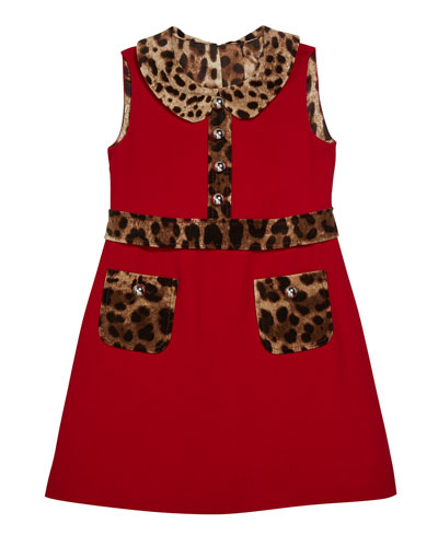 Girl's Sleeveless Dress w/ Animal-Print Trim, Size 8-12  and Matching Items
