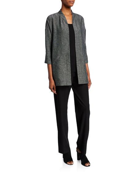 Eileen Fisher Organic Linen Tweed 3/4-Sleeve Kimono Jacket