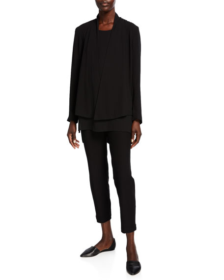Eileen Fisher Silk Georgette Crepe Scoop-Neck Tank