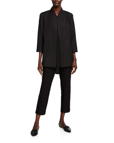Eileen Fisher Erased Diamond Jacquard 3/4-Sleeve Jacket