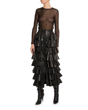 14a8b9582d1c Saint Laurent Semisheer-Striped Linen-Silk Long-Sleeve Top Ruffle-Tiered  Leather