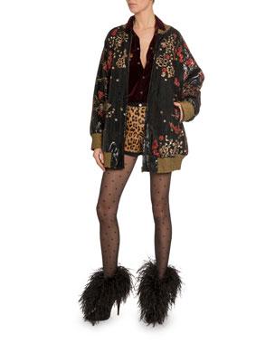 bd8916e30a65 Saint Laurent Dragon-Embroidered Velvet Snap-Front Shirt Leopard-Print  Goat-Hair