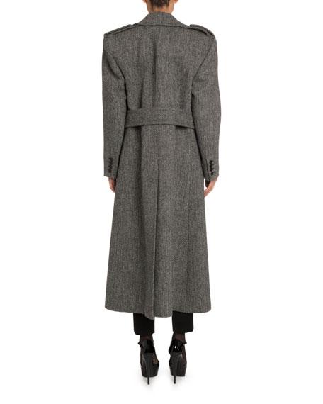 Saint Laurent Belted Chevron-Wool Coat