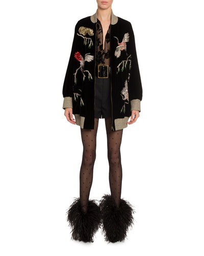 Sequin-Embroidered Velvet Bomber Jacket and Matching Items