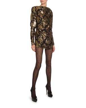 be092c1df48 Saint Laurent Golden Embroidered Velvet Mini Dress Swiss Dot Tights
