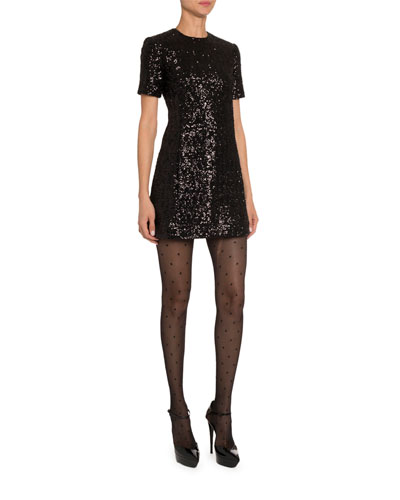Sequined Mini Shift Dress and Matching Items