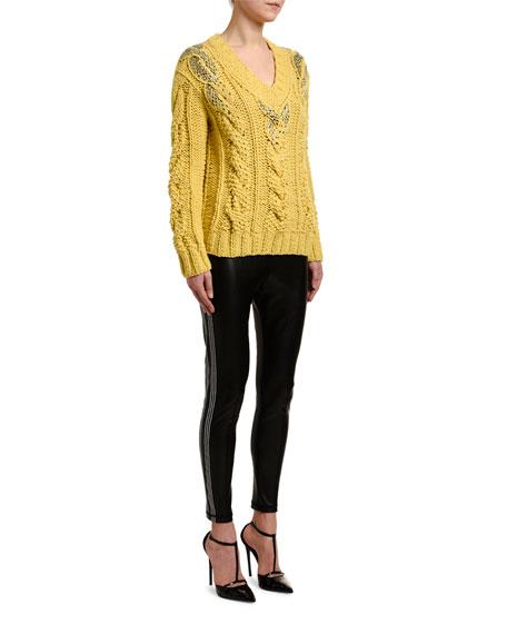 Ermanno Scervino Embellished V-Neck Cable-Knit Sweater