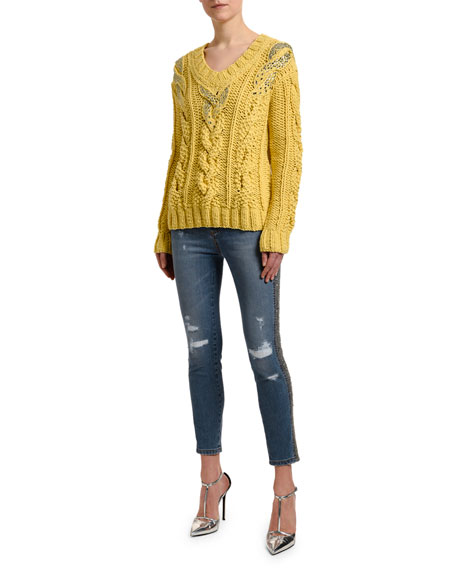Ermanno Scervino Embellished V-Neck Cable-Knit Sweater
