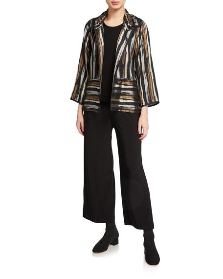 Caroline Rose Tonal Stripe Jacquard Ruched Collar Jacket