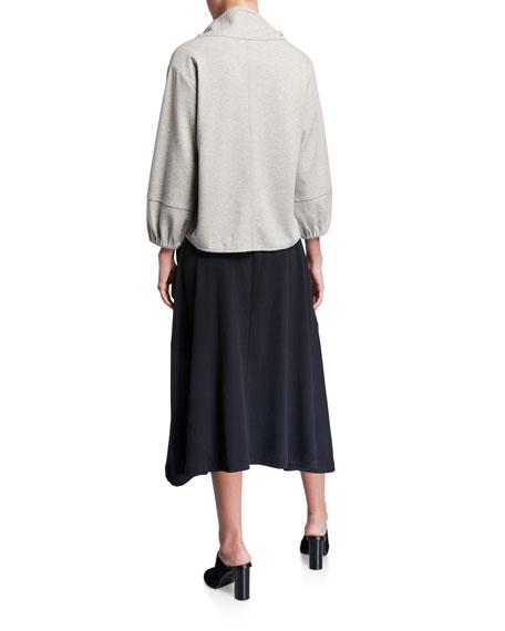 Joan Vass Dolman Cowl-Neck 3/4-Sleeve Top