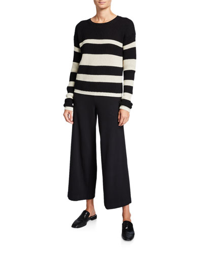 Crewneck Cropped Stripe Sweater and Matching Items
