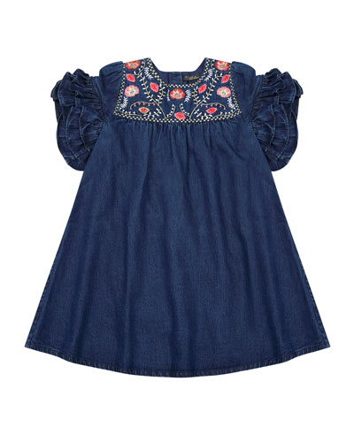Ginny Denim Embroidered Dress  Size 4-6