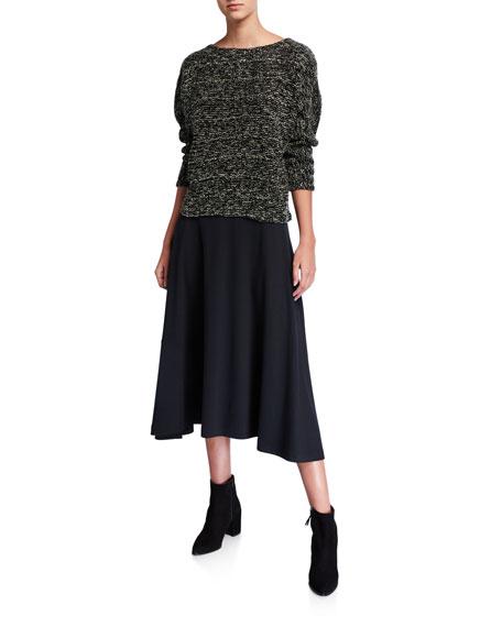 Joan Vass Boucle Crewneck Long-Sleeve Top