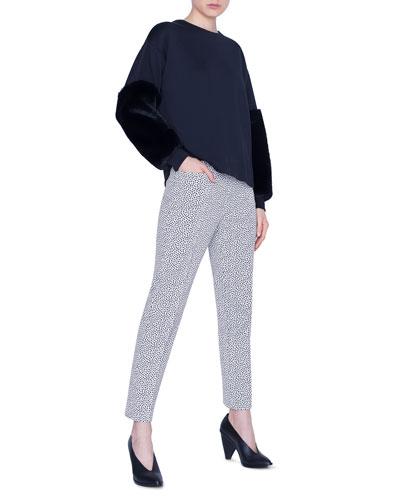 Neoprene Faux-Fur Trim Crewneck Sweatshirt and Matching Items