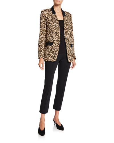Animal-Print French-Terry Boyfriend Blazer and Matching Items