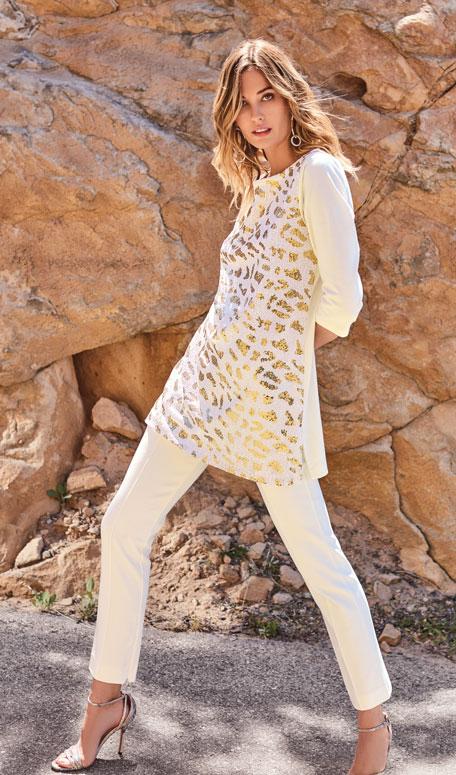 Joan Vass Sequin Animal 3/4-Sleeve Cotton Interlock Tunic