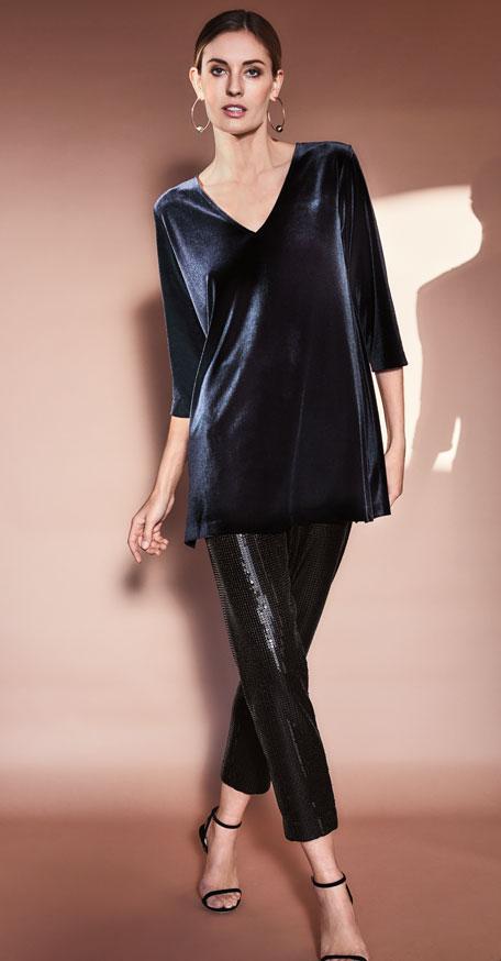 Joan Vass V-Neck 3/4-Sleeve Velvet Easy Tunic