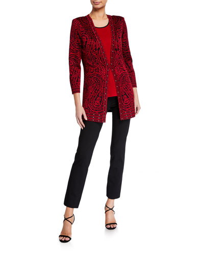 Paisley 3/4-Sleeve Long Jacket with Stud Detail and Matching Items