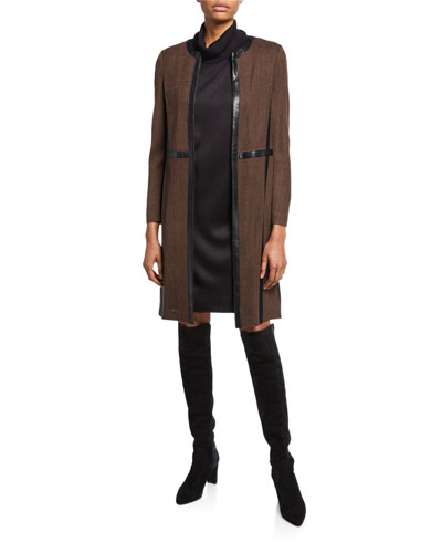 Long Jacket with Faux Leather Trim and Matching Items