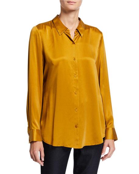 Eileen Fisher Sandwash Silk Button-Front Long-Sleeve Shirt