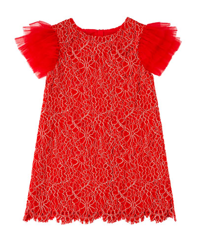 Woven Lace Dress w/ Tulle Flutter Sleeves, Size 4-8  and Matching Items