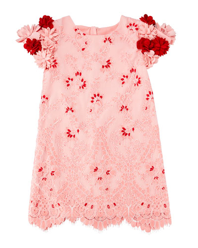 Lace Dress w/ 3D Felt Flower Sleeves, Size 4-8  and Matching Items